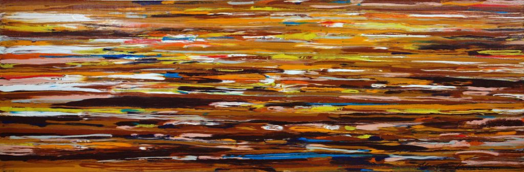 Sunrises and sunsets which admired Paul Gauguin in Tahiti, oil on canvas, author's technique, 50 x 150 cm, 2008