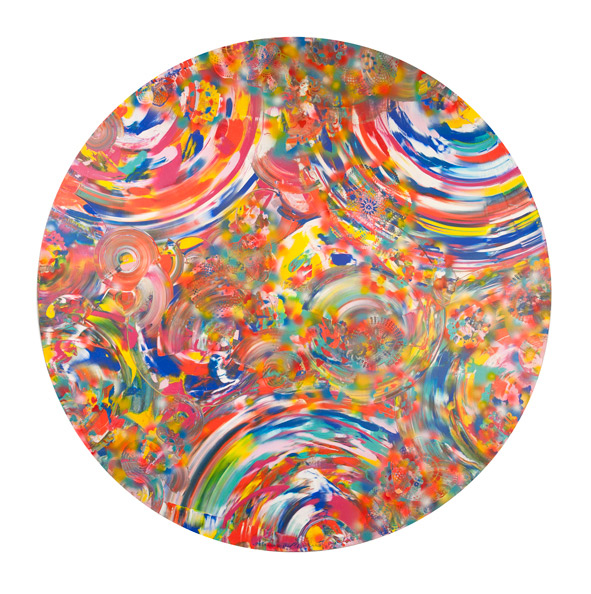 The cosmic dimension of earthly pleasures, acrylic on canvas, diameter 170 cm, 2011