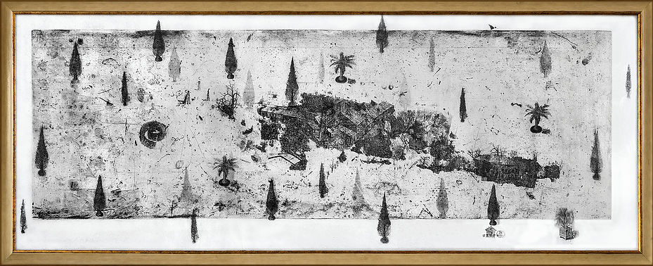 From the Gardens graphic series, multiple intaglio, acrylic, paper, 59 x 159 cm, 2012