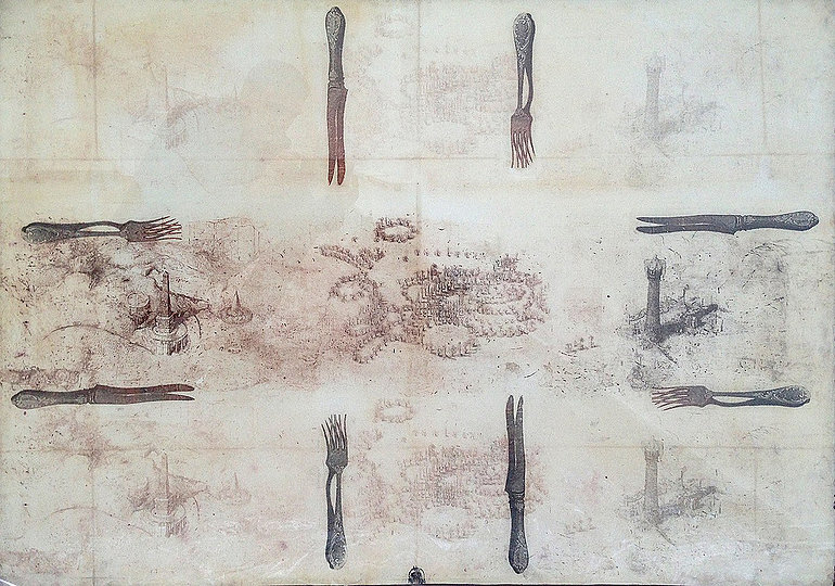From the Tablecloths graphic series, multiple intaglio, acrylic, paper, 80 x 123 cm, 2012