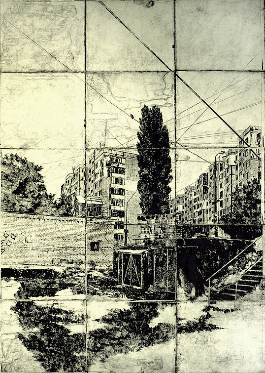 Pravdy avenue. From the Noise project, paper, etching, 3/5, 290 х 150 cm, 2013