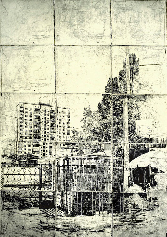 Vinogradar. From the Noise project, paper, etching, 3/5, 290 х 150 cm, 2013