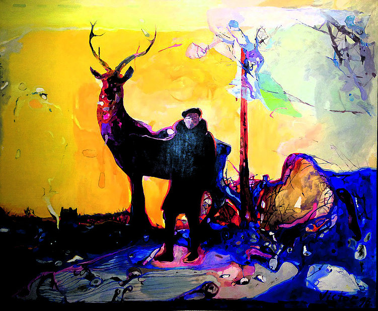 Figure and background II, from cycle Amnesia, oil on canvas, 125 х 150 cm, 1996