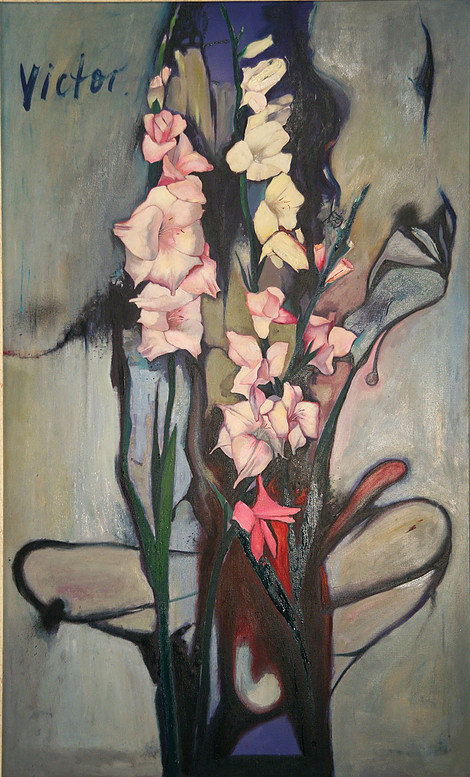 Intimate still life, Ffrom the Woman and flowers series,oil on canvas, 137 x 84 cm, 1992